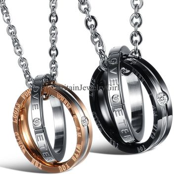 Interlocking Ring His and Hers Matching Promise Eternal Love Couple Necklace