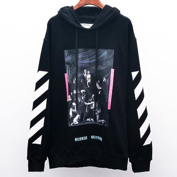 OFF-WHITE autumn and winter new tide brand religious oil painting men and women hooded sweater Black