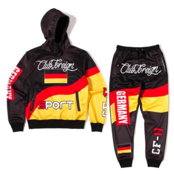 Club Foreign Sports Germany Three Color Hoodies and Sweatpants Suit Set
