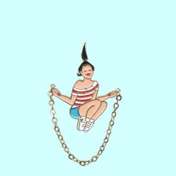 Jumping Rope Enamel Pin