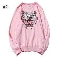KENZO 2018 new color embroidery tiger head couple models round neck sweater #2