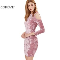 COLROVIE Womens Sexy Dresses Party Night Club Dress Sexy Dress Club Wear Pink Cold Shoulder Crushed Velvet Bodycon Dress