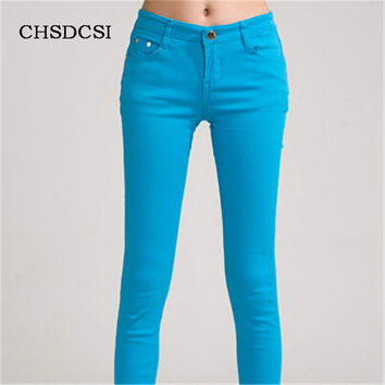 18 Colors Jeans 2017 New Sexy Women Pants Spring Summer Fashion Pencil Pant Lady Skinny Long Candy Color Plus Size Trousers K104
