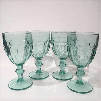 Libbey Gibraltar Teal Duratuff Wine Glasses| Aqua Glass Goblets | Set of 4 Teal Libbey Wine Glasses