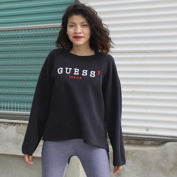 Guess Navy Blue Pullover Sweatshirt One Size, Vintage 80s 90s Guess Jeans Pullover Crewneck, Vintage Workout Guess Hoodie Small Medium Large
