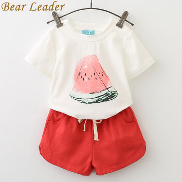 Bear Leader Girls Clothing Sets 2017 Summer Casual Style Watermelon Print Design Short Sleeve + Pants 2Pcs Kids Clothing Sets