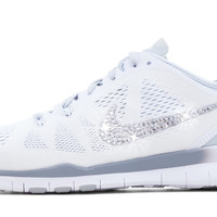 Nike Free Run TR Fit 5 + Crystallized Swarovski Swoosh - White/Grey