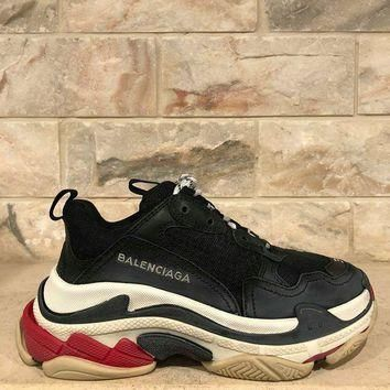 NIB Balenciaga Triple S Sneaker Womens Black Red Leather Speed Flat Trainers 35