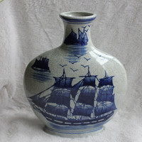 "Oriental Porcelain Chinese Vase 9"" - Nautical Flow Blue Clipper Ship, Vintage Seymour Mann China"