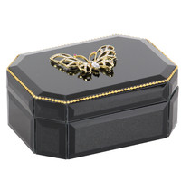 Benzara Ethereal Wood Butterfly Glass Box, Black