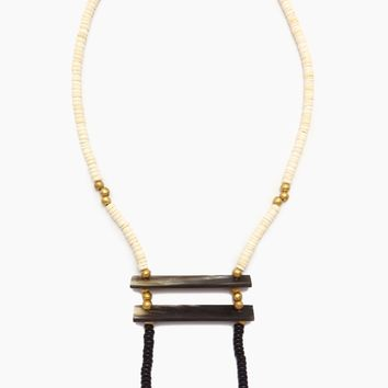 Wood Horn Crossbar & Brass Necklace - White & Black Wood