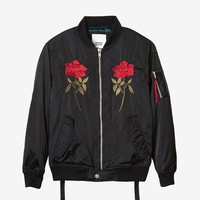 Mirrored Rose Bomber Jacket in Black