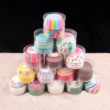 100 Pcs Professional Baking Cake Paper Cups Oil Resistant High Temperature about Translucent Paper Cake Cup Bakeware Pastry Tool