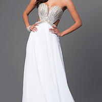 La Femme Strapless Long Formal Chiffon Dress