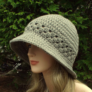 Stone Gray Crochet Hat - Womens Cloche - Flapper Hat - Chunky Hat - Womens Accessories