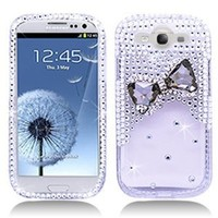 3D Bow Tie Rhinestone/Diamond/Crystal/Bling Hard Plastic Protector Case Cover For Samsung Galaxy S3 I9300-Clear