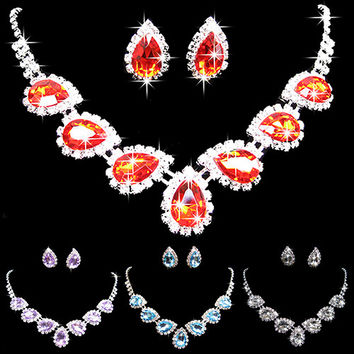 New Prom Wedding Bridal Crystal Rhinestone Waterdrop Necklace Earring Jewelry Set  8SLD
