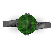 Elegance Collection Engagement Ring in 14K Black Gold Wedding Ring with 7mm Round Emerald Center  - V1093