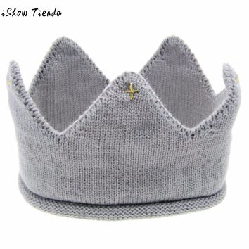 Princess Hat New Cute Baby Crown Shape Knitting Solid Baby Photography Props Chapeu Infantil