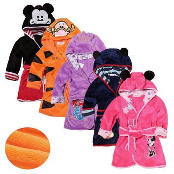 Cartoon Kids Robes Flannel Child Boys Girls Robes Lovely Animal Hooded  Bath Robes