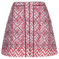 Limited Edition Quilted Tile Print Skirt - Red