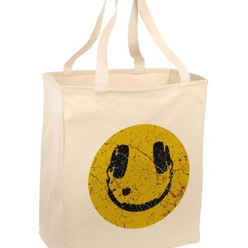 EDM Smiley Face Large Grocery Tote Bag-Natural by TooLoud