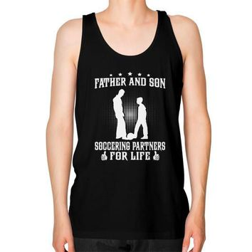 FATHER AND SON SOCCERING Unisex Fine Jersey Tank (on man)