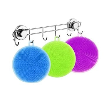 Silicone Dish Washing Sponge Scrubber Kitchen Cleaning antibacterial Tool Soft Cleaning Antibacterial Brush Kitchen Tools