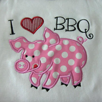 I Love BBQ Custom made appliqued, monogrammed, embroidered, tee shirts or one piece w/snaps, boys, girls, toddlers