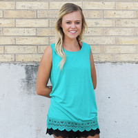 Turquoise Solid Tank with Crochet Lace