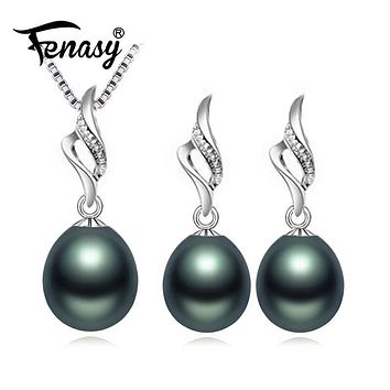 FENASY Nice Natural Pearl Jewelry Sets 925 Sterling Silver pendant Necklace,Pearl Earrings earrings fashion jewelry,Wedding