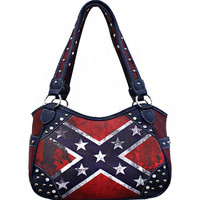 Distressed Vintage Rebel Flag Conceal Carry Purse