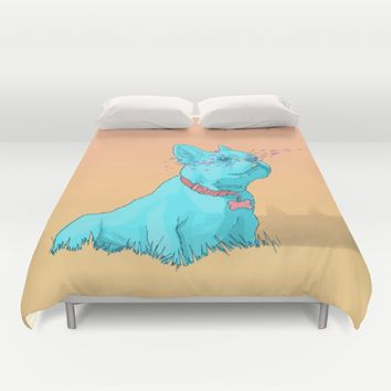 Psychedelic French Bulldog Duvet Cover by Psychedelic Astronaut