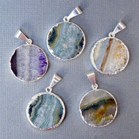 Amethyst Slice Druzy with Sterling Silver Electroplated Edge Pendant-- 20mm Round Amethyst Slice Pendant (S11B4-06)