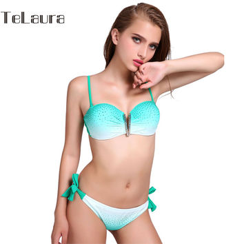 Diamond Ladies Bikini 2017 Swimwear Women Sexy Swimsuit Push Up Beachwear Girls Strap Bikini Set Crystal Biquini Bathing Suit