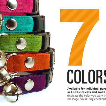 Color Collection (7 Styles) - Pick One - Cat Collar & Dog Collar Sizes - (Red, Blue, Pink, Teal, Green, Orange, Purple)