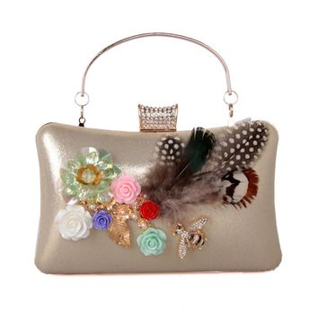 DAIWEI Women Evening Bag Clutch Handbag With diamonds Pearl Feather leatherette Wedding Event/Party Formal Chain Sequined New