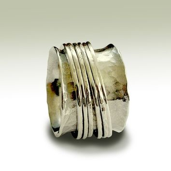 Sterling silver band with silver stacking spinners - Falling free