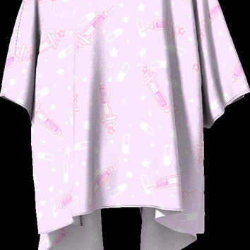 Menhera Draped Kimono - Syringe Pills Stars Cute Fairy Kei Yume Kawaii Pink Purple Pastel Grunge Open Front Loose Fit Casual Cardigan