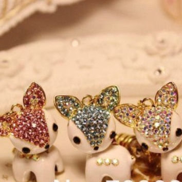 Crystal DEER earphone hanging charm anti dust plug for most of cell phone  with 3.5 jack plug. Different color stones.