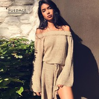 Fuedage 2017 New Autumn Winter Sweater Dress Women Sexy Vintage Off Shoulder Ruffles Dresses Casual Sashes Vestidos