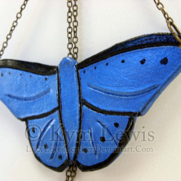 Blue Butterfly Necklace Handmade Leather Charm