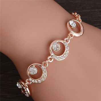 Trendy Summer New Fashion Hot Round Crystal Jewelry charm bracelet & Bangles anklet for women Gold Color bracelets for women