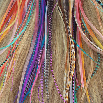 Rainbow FEATHERS Hair extension pack - 15 LONG skinny feathers every color & GRIZZLY ready to ship