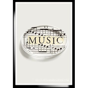 Music Cutout Crystal Oval Paperweight