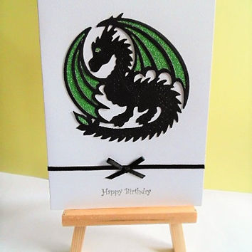 Dragon birthday card, birthday card, dragon card, greeting card, handmade card, card for him, blank card, happy birthday card, dragon