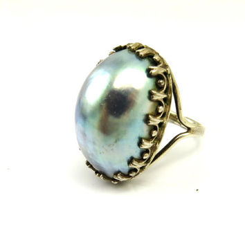 Pearl Rings, Gray Pearl Ring, Blue Pearl Ring, Silver Rings, Mabe Pearl Ring, Vintage Cocktail Rings, Rings Size 8