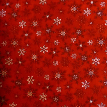 25% OFF Christmas SALE - Cotton fabric, Home Decor, Quilt, Craft, Christmas, Snowflakes, Holly Jolly 3 by Kaufman, Fast Shipping