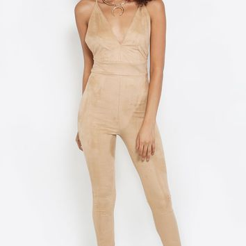 Criss Cross Back Suede Jumpsuit