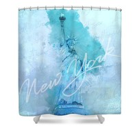 New York City - Statue Of Liberty - Blue Shower Curtain